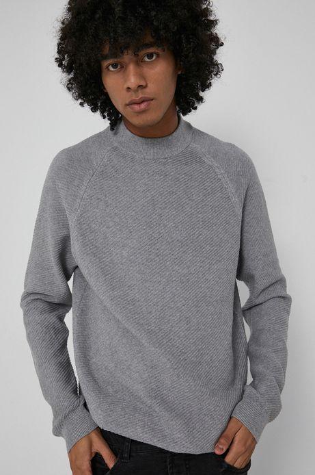 Sweter z gładkiej dzianiny męski szary