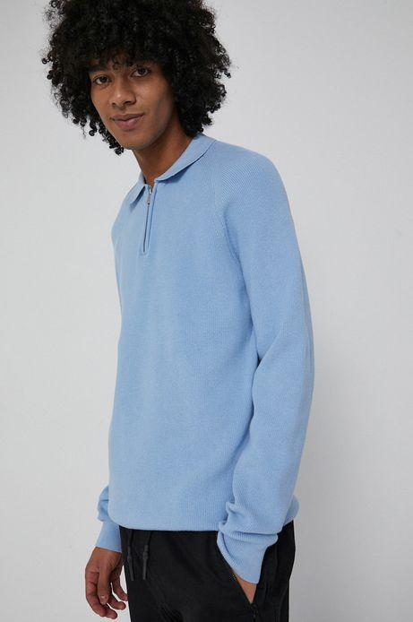 Sweter z gładkiej dzianiny męski niebieski