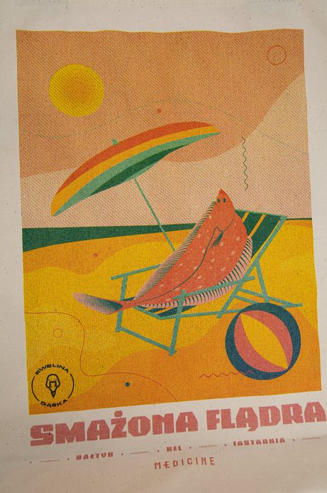 Bawełniana torba by Ewelina Gąska, Summer Posters beżowa