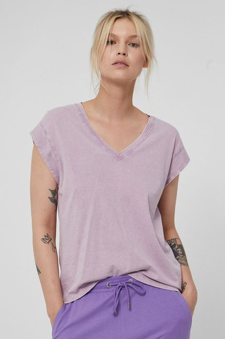 Bawełniany t-shirt damski z dekoltem V fioletowy