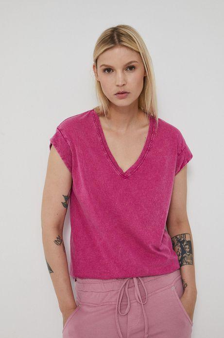 Bawełniany t-shirt damski z dekoltem V różowy