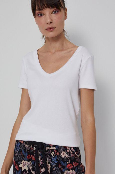 T-shirt damski z dekoltem V biały
