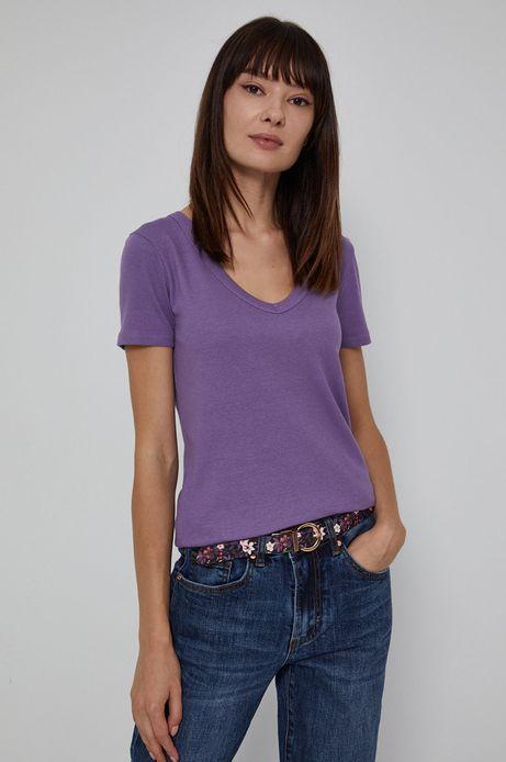 T-shirt damski z dekoltem V różowy