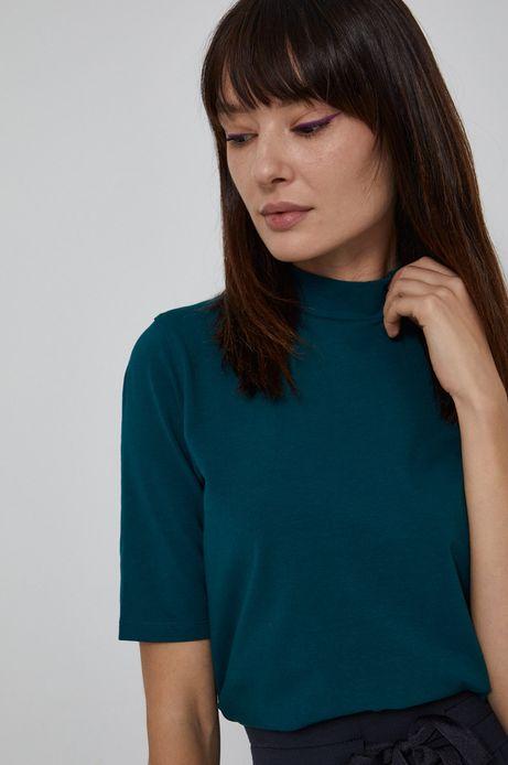 T-shirt damski z golfem z bawełny organicznej turkusowy