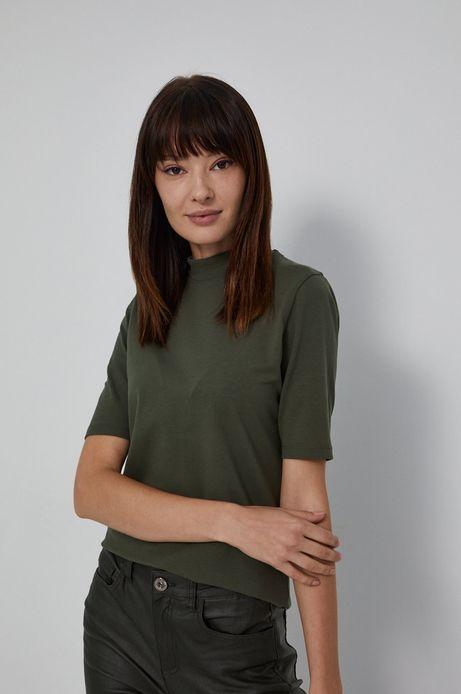 T-shirt damski z golfem z bawełny organicznej zielony