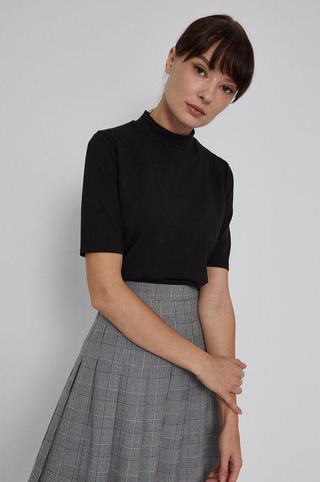 T-shirt damski z golfem z bawełny organicznej czarny
