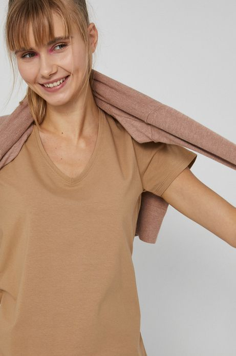 T-shirt damski beżowy