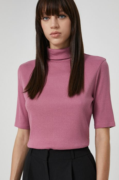 T-shirt z gładkiej dzianiny damski różowy