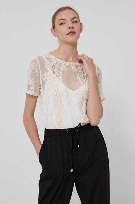 Bluzka damska koronkowa kremowa
