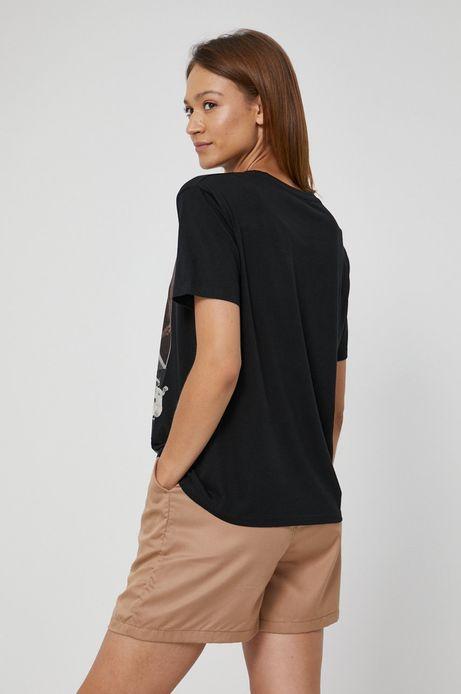 T-shirt bawełniany damski z nadrukiem czarny