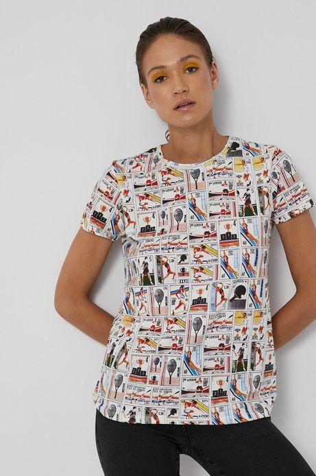 T-shirt bawełniany damski z wzorzystej dzianiny biały