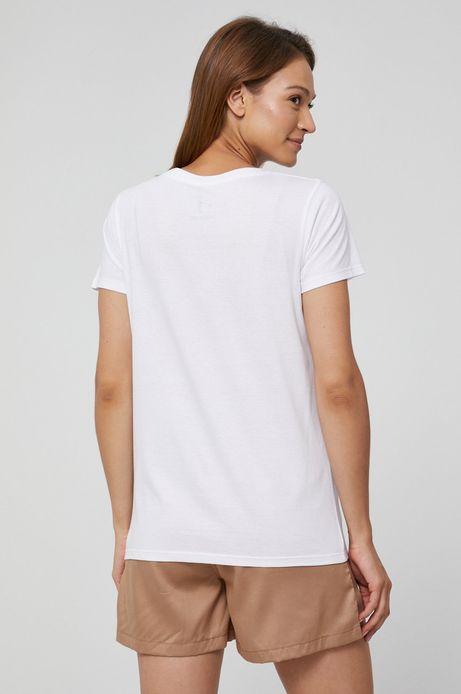 T-shirt bawełniany damski z nadrukiem biały