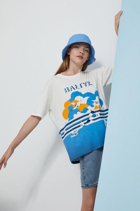 T-shirt bawełniany damski by Ola Jasionowska, Summer Posters kremowy