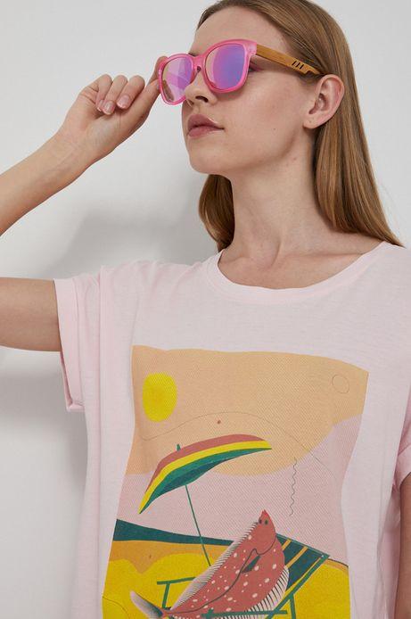 T-shirt bawełniany damski by Ewelina Gąska, Summer Posters różowy