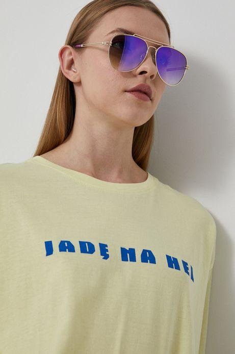 T-shirt bawełniany damski by Ewelina Gąska, Summer Posters żółty