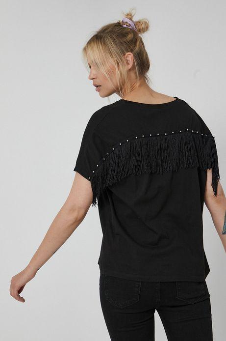 T-shirt damski z bawełny organicznej z frędzlami czarny
