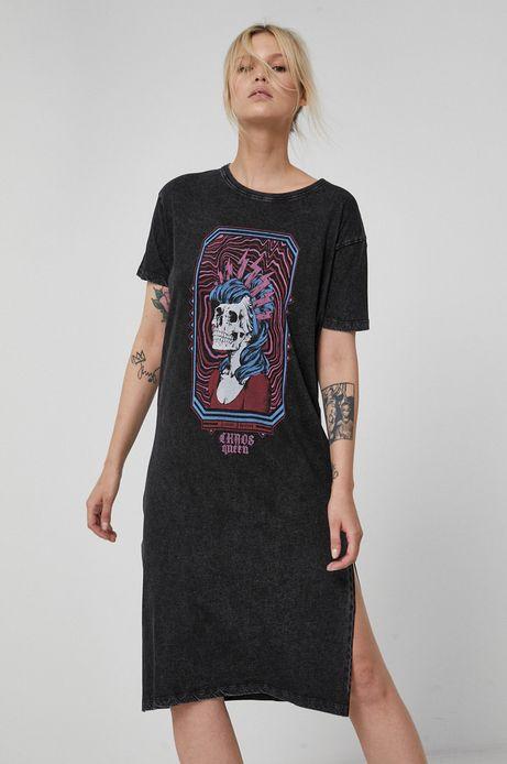 Długi t-shirt bawełniany damski z nadrukiem szary