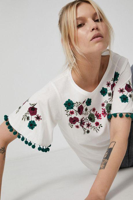 T-shirt damski z bawełny organicznej kremowy