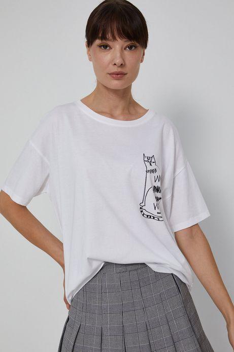 T-shirt damski z bawełny organicznej by Agnieszka Gajos Grafika Polska biały