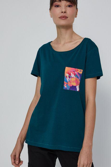 T-shirt bawełniany damski by Daga Skwarska, Grafika Polska turkusowy