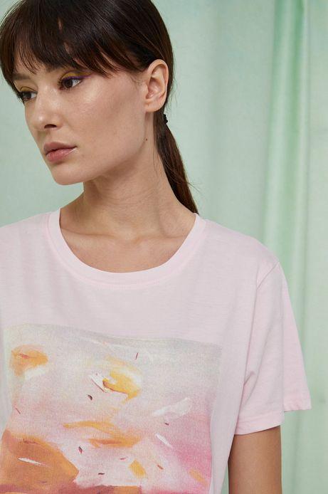 T-shirt damski z bawełny organicznej by Joanna Osińska, Grafika Polska różowy