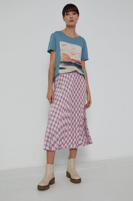 T-shirt damski z bawełny organicznej by Joanna Osińska, Grafika Polska turkusowy