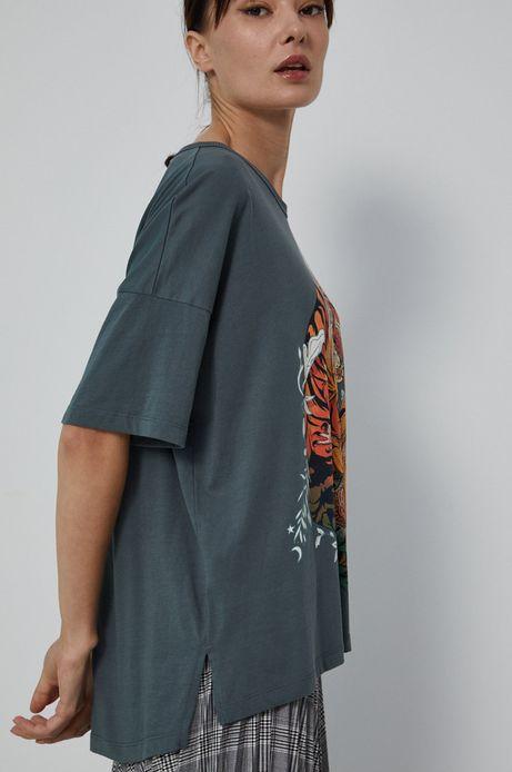 T-shirt bawełniany by Sebastian Rubiano, Grafika Polska zielony