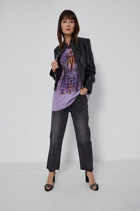 T-shirt damski z bawełny organicznej fioletowy