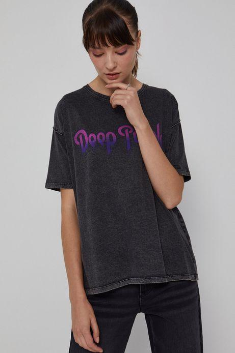 T-shirt bawełniany damski z nadrukiem Deep Purple szary