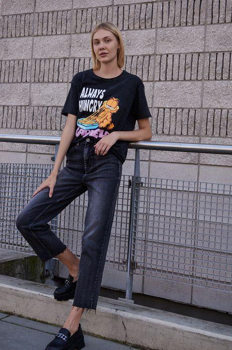 T-shirt bawełniany damski szary
