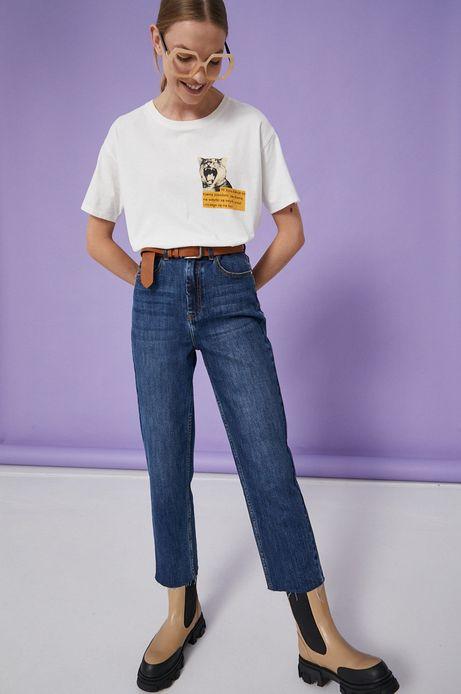 T-shirt bawełniany damski kremowy z kolekcji Możliwości - Fundacja Wisławy Szymborskiej