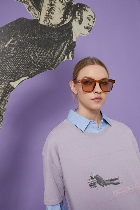 T-shirt bawełniany damski fioletowy z kolekcji Możliwości - Fundacja Wisławy Szymborskiej