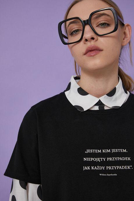 T-shirt bawełniany damski czarny z kolekcji Możliwości - Fundacja Wisławy Szymborskiej