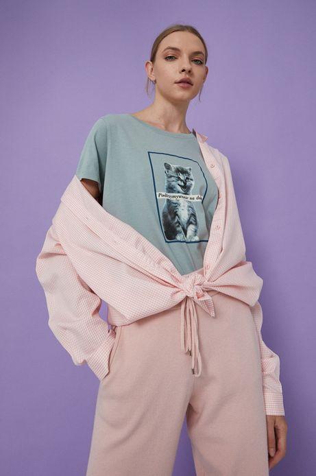 T-shirt bawełniany damski turkusowy z kolekcji Możliwości - Fundacja Wisławy Szymborskiej