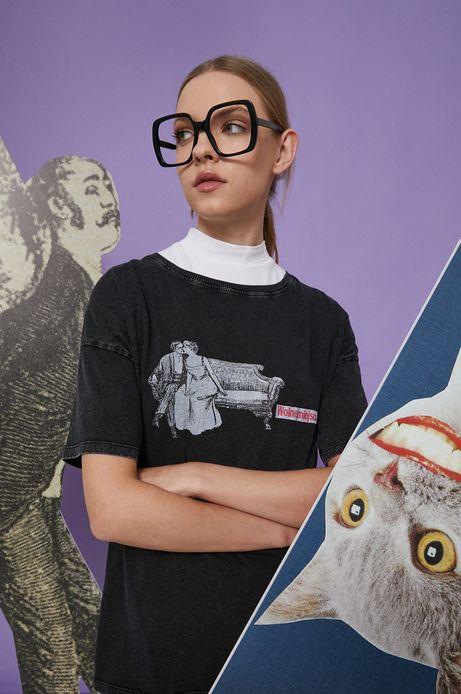 T-shirt bawełniany damski szary z kolekcji Możliwości - Fundacja Wisławy Szymborskiej