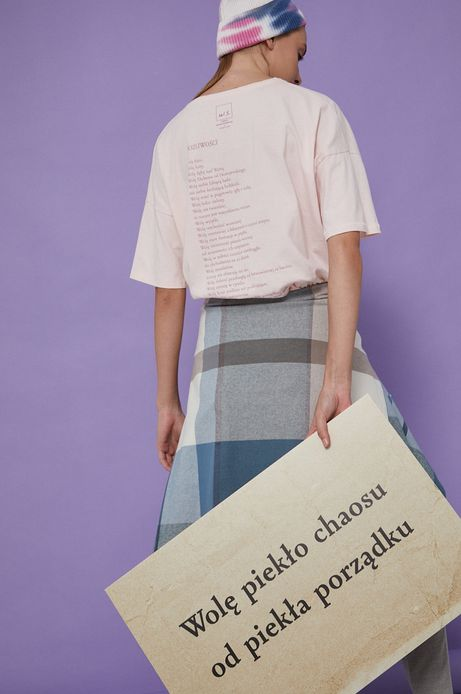 T-shirt bawełniany damski różowy z kolekcji Możliwości - Fundacja Wisławy Szymborskiej