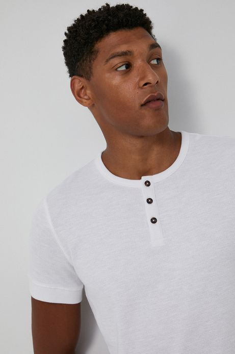 T-shirt bawełniany męski z guzikami biały