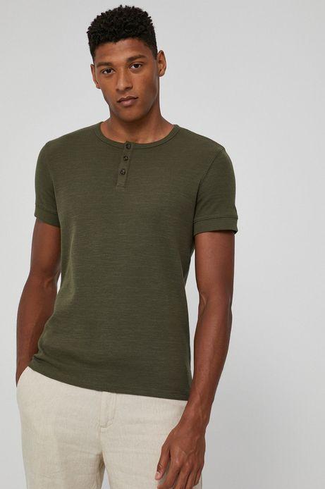 T-shirt bawełniany męski z guzikami zielony