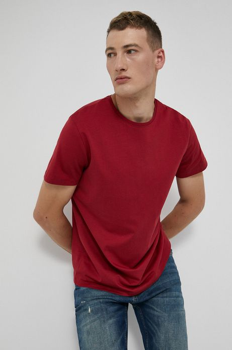 T-shirt męski z bawełny Pima czerwony
