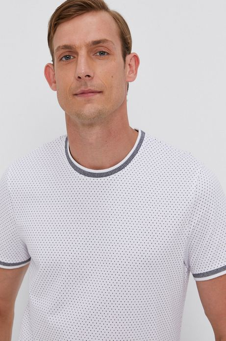 T-shirt męski slim w drobny wzór biały