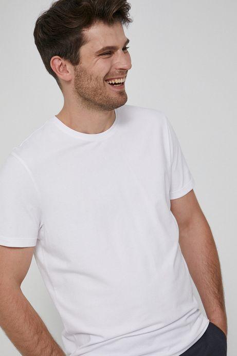 T-shirt z gładkiej dzianiny męski biały