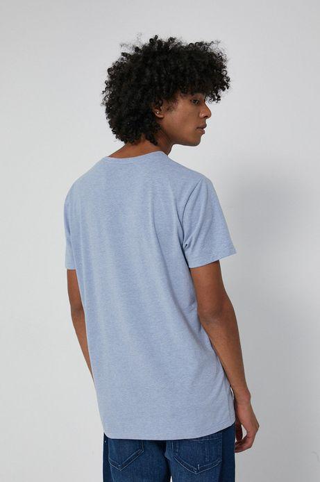 T-shirt z gładkiej dzianiny męski niebieski