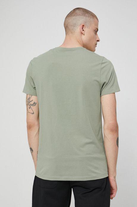 T-shirt z gładkiej dzianiny męski zielony