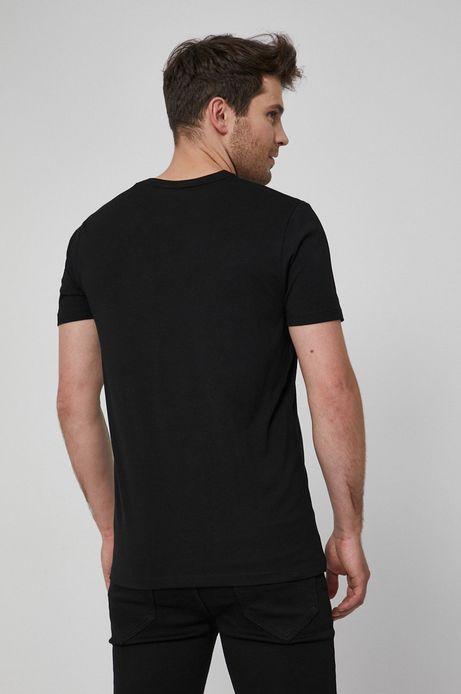 T-shirt z dzianiny męski czarny