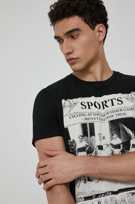 T-shirt bawełniany męski Olympic Games czarny