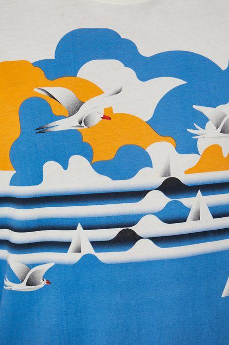 T-shirt bawełniany męski by Ola Jasionowska, Summer Posters kremowy