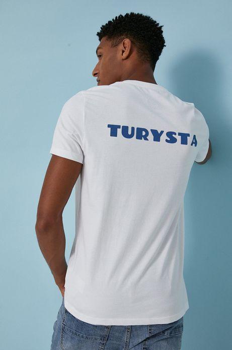T-shirt męski z bawełny organicznej by Justyna Frąckiewicz, Summer Posters biały