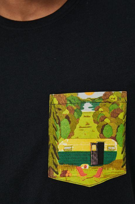 T-shirt męski z bawełny organicznej by Justyna Frąckiewicz, Summer Posters, czarny