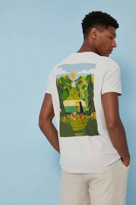 T-shirt męski z bawełny organicznej by Justyna Frąckiewicz, Summer Posters szary