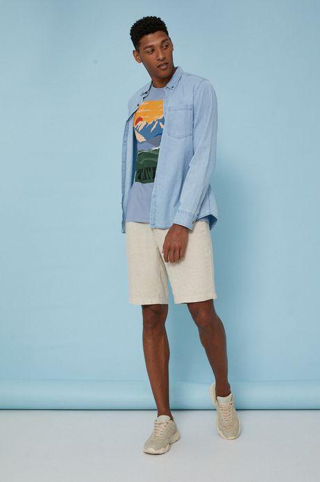 T-shirt męski z bawełny organicznej by Justyna Frąckiewicz, Summer Posters niebieski